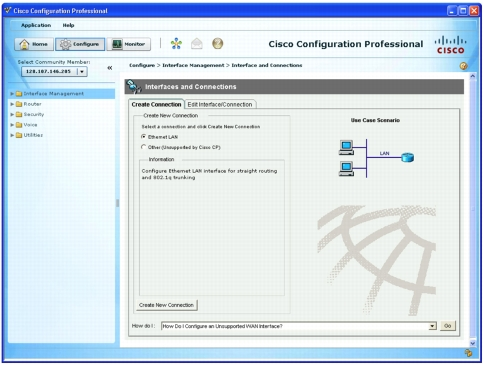 Cisco Configuration Professional Homepage with Configuration Options